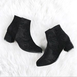 """""""VaVa"""" Black Velvet Paisley Embossed Ankle Boots"""